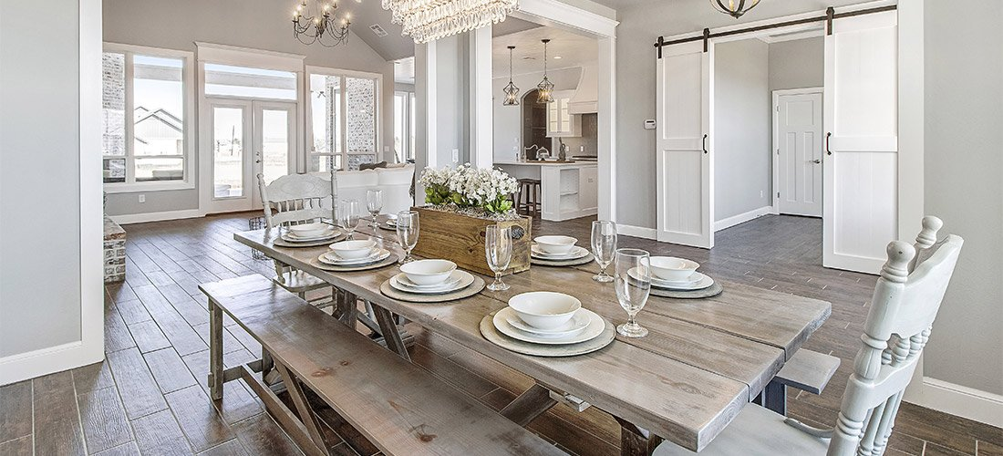 Mockingbird Builders Dinning Room, Kitchen, Barn Doors, Chandelier
